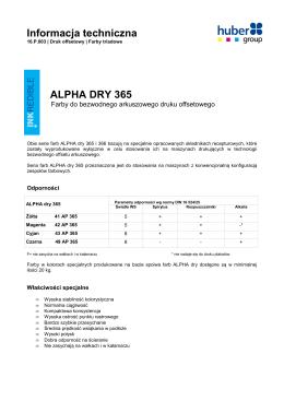 Informacja techniczna ALPHA DRY 365