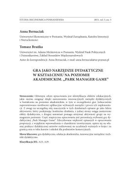 Anna Bernaciak, Tomasz Brańka - studia oeconomica posnaniensia