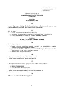 Regulamin Organizacyjny - Miejski Ośrodek Pomocy Społecznej w