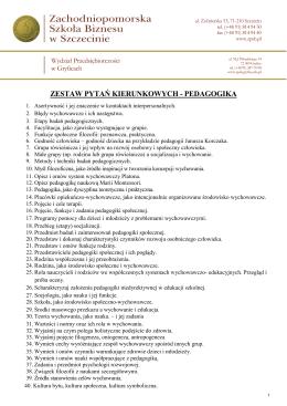 zagadnienia na egzamin licencjacki, kierunek Pedagogika