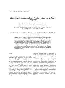 Materiały do hiropterofauny Pienin