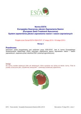 Norma ESTA Europejska Gwarancja Jakości Zaprawiania Nasion