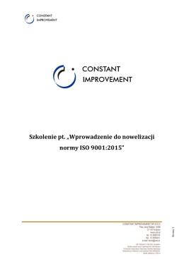 """Szkolenie pt. """"Wprowadzenie do nowelizacji normy ISO 9001:2015"""""""