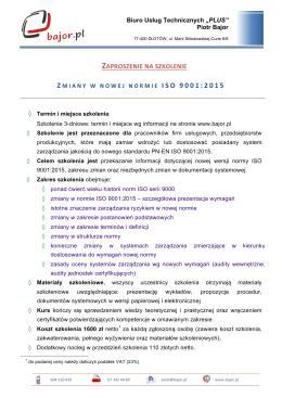 zaproszenie na szkolenie z miany w nowej normie iso 9001:2015