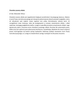 Charakter prawny układu dr hab. Aleksander Witosz Charakter