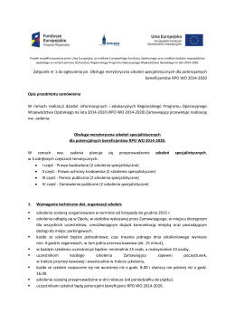 Załącznik nr 1 do ogłoszenia pn. Obsługa merytoryczna szkoleń