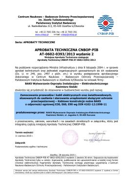 APROBATA TECHNICZNA CNBOP-PIB AT-0602-0393/2013