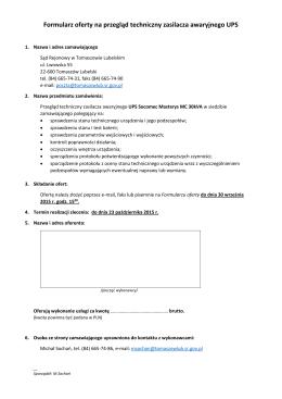 Formularz oferty na przegląd techniczny zasilacza awaryjnego UPS