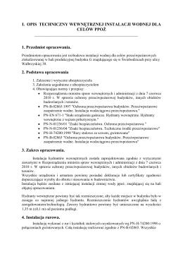 Opis techniczny do instalacji ppoż hala budynek G Świebodzice ul