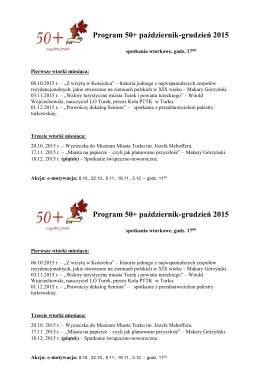 Program 50+ październik-grudzień 2015 Program 50+ październik
