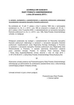 UCHWAŁA NR IX/46/2015 RADY POWIATU