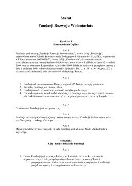 Statut Fundacji Rozwoju Wolontariatu