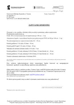 Treść zapytania ofertowego. - Uniwersytet Mikołaja Kopernika