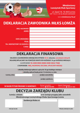 deklaracja zawodnika mlks - Młodzieżowy Łomżyński Klub Sportowy