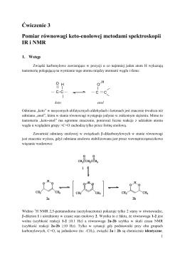Pomiar równowagi keto-enolowej metodą spektroskopii IR i NMR