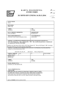 karta zgłoszenia entry form 19. mffd off cinema 18