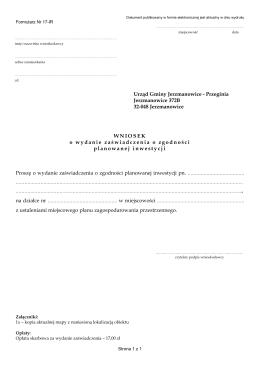 Wniosek o wydanie zaświadczenia o zgodności planowanej