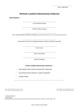 Wniosek o wydanie dokumentacji medycznej