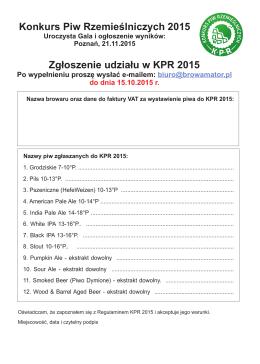 Zgłoszenie do konkursu - Poznańskie Targi Piwne