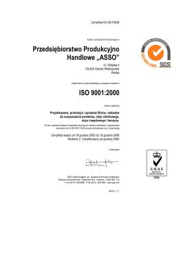 """Przedsiębiorstwo Produkcyjno Handlowe """"ASSO"""" ISO 9001:2000"""