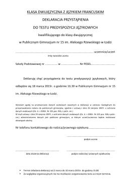 klasa dwujęzyczna z językiem francuskim deklaracja przystąpienia