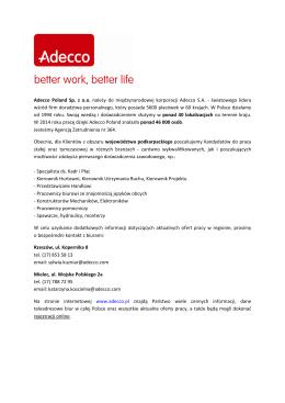Adecco Poland Sp. z o.o. należy do międzynarodowej korporacji