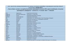 Lista zakwalifikowanych na szkolenie w Olsztynie