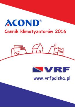 Cennik ACOND VRF - 30.12.2015r. - Klimatyzatory Acond
