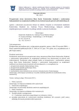 Zapytanie ofertowe - Krakowska Akademia im Andrzeja Frycza