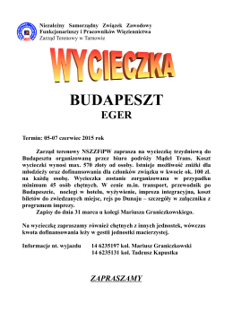 Zapraszamy do Budapesztu