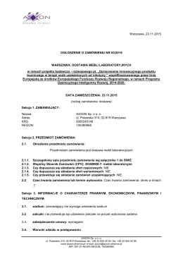 ogłoszenie o zamówieniu 03_2015 meble laboratoryjne
