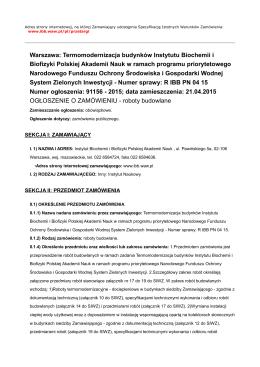 Warszawa: Termomodernizacja budynków Instytutu Biochemii i