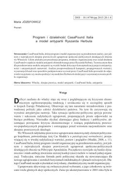 Program i działalność CasaPound Italia a model antypartii Ryszarda