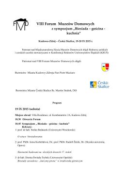 """VIII Forum Muzeów Domowych z sympozjum """"Biesiada – gościna"""