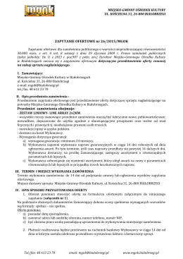ZAPYTANIE OFERTOWE nr 26/2015/MGOK Przedmiot zamówienia