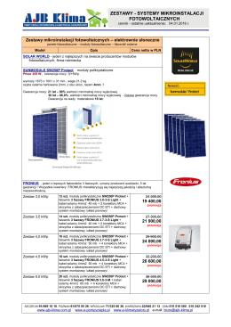zestawy - systemy mikroinstalacji fotowoltaicznych