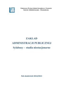 ZAKŁAD ADMINISTRACJI PUBLICZNEJ Sylabusy