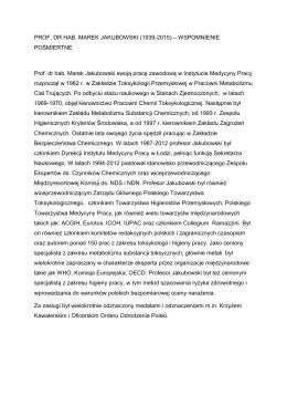 Wspomnienie pośmiertne - Instytut Medycyny Pracy im. prof. J. Nofera