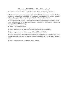 """Ogłoszenia na 12.VII.2015 r. – XV niedziela zwykła """"B"""