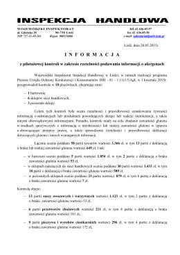 Wojewódzki Inspektorat Inspekcji Handlowej w Łodzi, w ramach