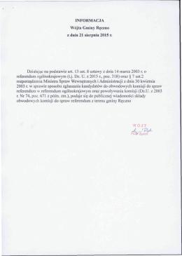 Informacja Wójta Gminy Ręczno z dnia 21 sierpnia 2015 r.