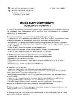 REGULAMIN SERWEROWNI - Koło Studentów Informatyki UJ