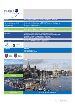 10-11 września 2015 w Szczecinie Jesienna Konferencja METREX