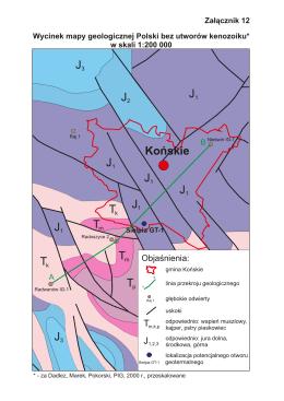 Wycinek mapy geologicznej Polski bez utworów kenozoiku