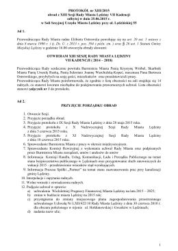 1 PROTOKÓŁ nr XIII/2015 obrad z XIII Sesji Rady Miasta