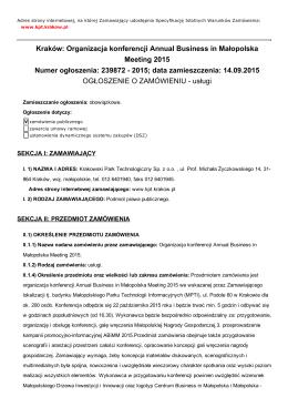 Kraków: Organizacja konferencji Annual Business in Małopolska