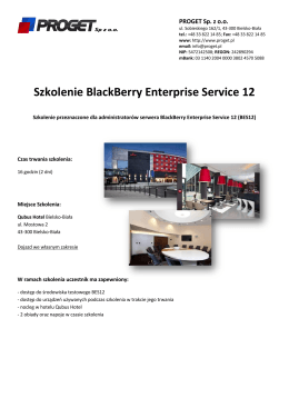 Szkolenie BlackBerry Enterprise Service 12
