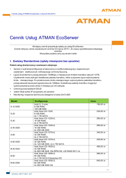 Cennik EcoSerwer od dnia 24.03.2015r.