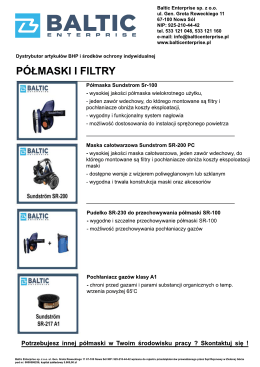 Sundstrom katalog półmasek i filtrów