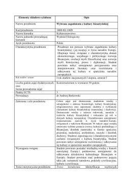 Elementy składowe sylabusu Opis Nazwa przedmiotu Wybrane